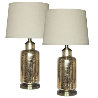 Mercury Goldtone Glass Table Lamp (Set of 2)