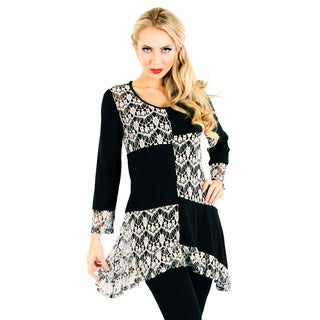 Firmiana Women's Black and Grey Patchwork Lace Long-sleeve Top
