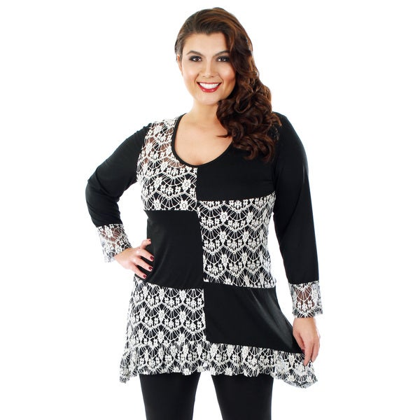 Firmiana Women's Plus Size Black Patchwork Lace Long-sleeve Top