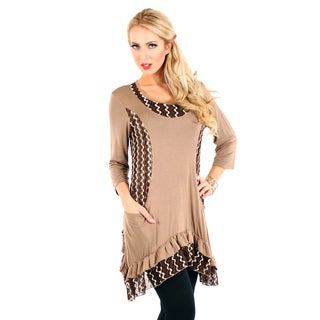 Firmiana Women's Mocha Lace-paneled Long Sleeve Blouse