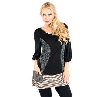 Firmiana Women's Black and Grey Mixed Media Long-line Blouse