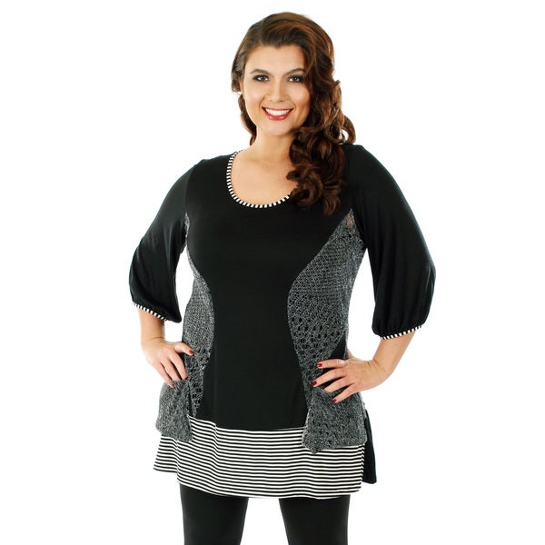 Firmiana Women's Plus Size Black and Grey Mixed Media Long-line Blouse