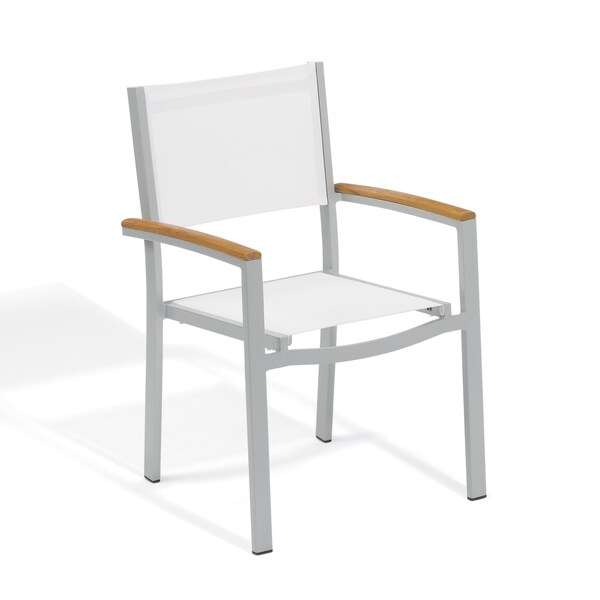 Oxford Garden Travira White Sling Seat Armchair, Set of 4