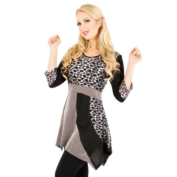 Firmiana Women's Mixed Leopard Pattern Long-line Tunic