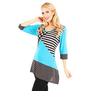 Firmiana Women's Black and Turquoise Mixed Print Top