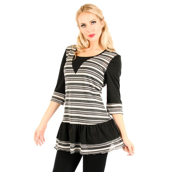 Firmiana Women's Black and White Striped Ruffle-hem Blouse
