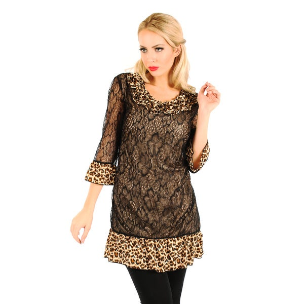Firmiana Women's Black and Leopard Print Ruffled-hem Tunic