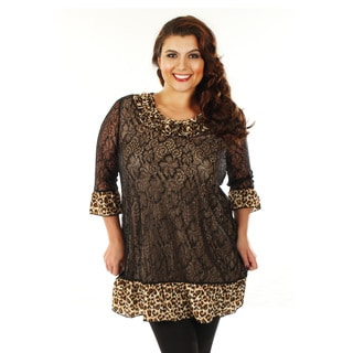 Women's Plus Size Black and Leopard Print Ruffled-hem Tunic