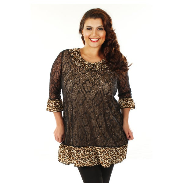 Firmiana Women's Plus Size Black and Leopard Print Ruffled-hem Tunic