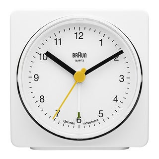 Braun 3-inch Classic White German Precision Quartz Square Alarm Clock