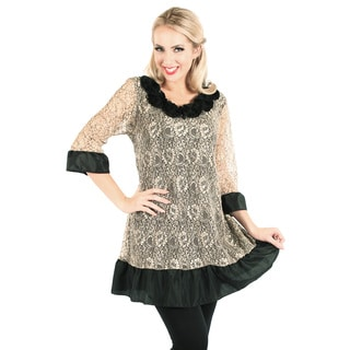 Women's Black and Champagne Lace Overlay Blouse
