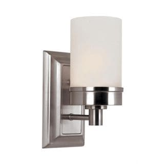 Cambridge 1-light Brushed Nickel 4.25-inch Wall Sconce with White Glass