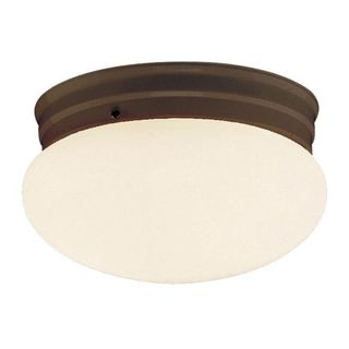 Cambridge Rubbed Oil Bronze Finish Flush Mount with Opal Shade