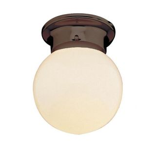 Cambridge Rubbed Oil Bronze Finish 1-light Flush Mount with Opal Shade