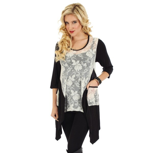 Firmiana Women's Black and White Floral Lace Tunic