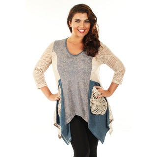 Firmiana Women's Plus Size Grey and Beige Mesh Pocket Top