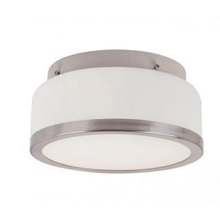 Cambridge 2-light Brushed Nickel Flush Mount with Frosted Shade