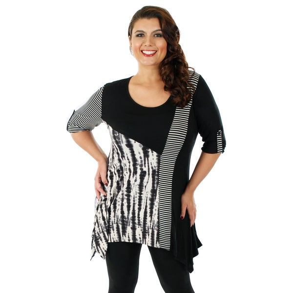 Firmiana Women's Plus Size Black and White Mixed Print 3/4-sleeve Top