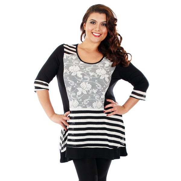 Firmiana Women's Plus Size Black Floral and Stripe Pattern Blouse