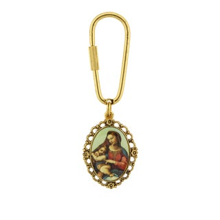 Gold-Tone Key Chain Featuring an Enameled Image of Mary and Infant Jesus in a Filigree Frame