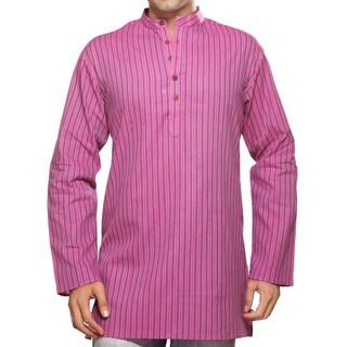 Akkriti Men's Kurta Tunic Banded Collar Multi-stripe Shirt (India)