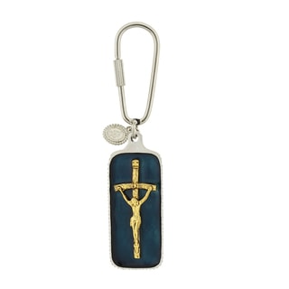 Silver-Tone Papal Key Chain Featuring Blue Enamel and Gold-Tone Crucifix