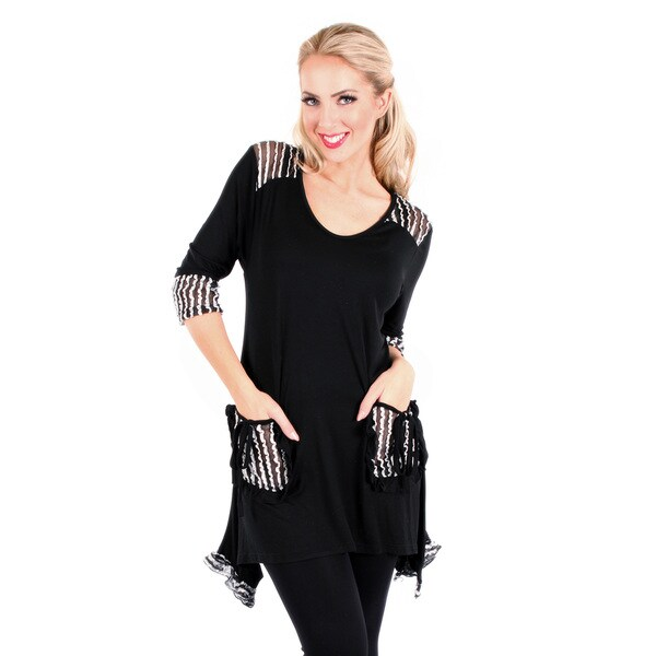 Firmiana Women's 3/4 Sleeve Black & White Lace Top