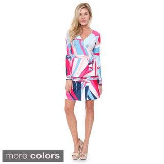 White Mark Women's 'Mariah' Colorful Wrap Dress
