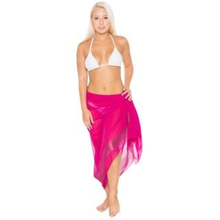 La Leela Super Lightweight Chiffon Sequin Embroidered Sarong 72X42 Inch Pink