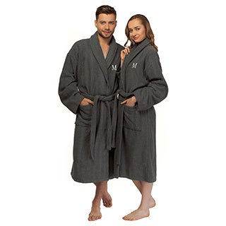 Authentic Hotel and Spa Turkish Cotton Charcoal Initial Unisex Bath Robe