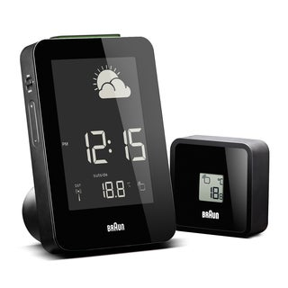 Braun Digital LCD Global Radio Controlled Weather Station Black Alarm Clock