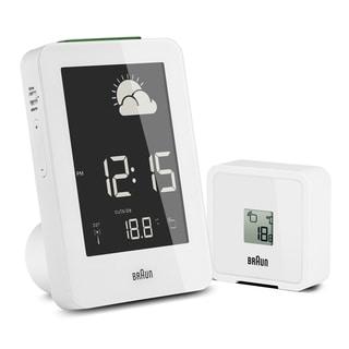 Braun Digital LCD Global Radio Controlled Weather Station White Alarm Clock