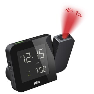 Braun Digital LCD Global Radio Controlled Projection Black Alarm Clock