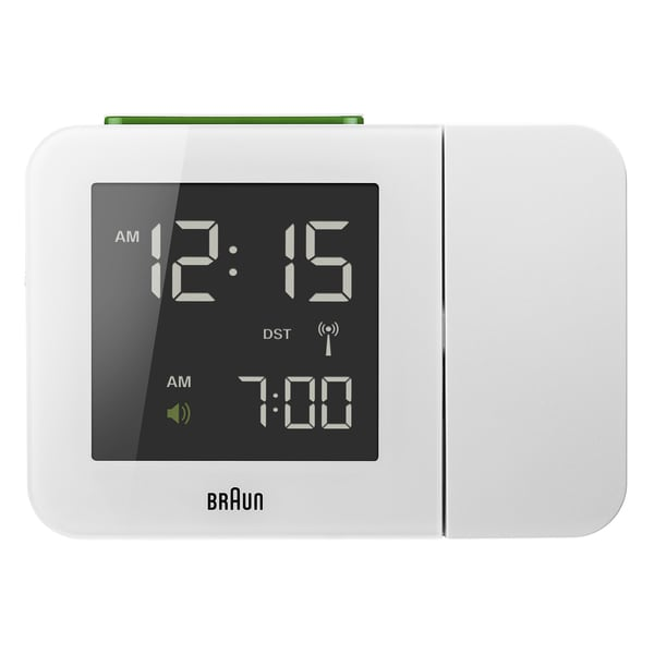 Braun Digital LCD Global Radio Controlled Projection White Alarm Clock