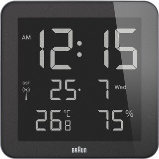 Braun Digital LCD Global Radio Controlled Clock with Indoor Temperature/ Humidity