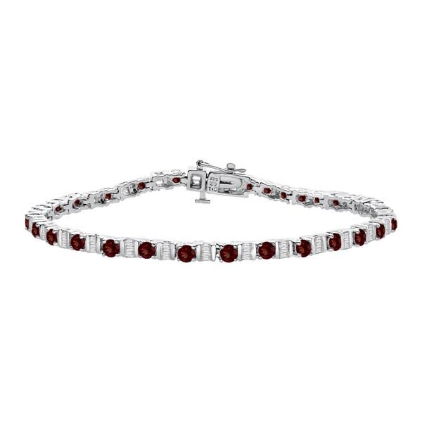 Sterling Silver 1ct TDW Diamond and Garnet Tennis Bracelet (K-L, I2-I3) 15140501