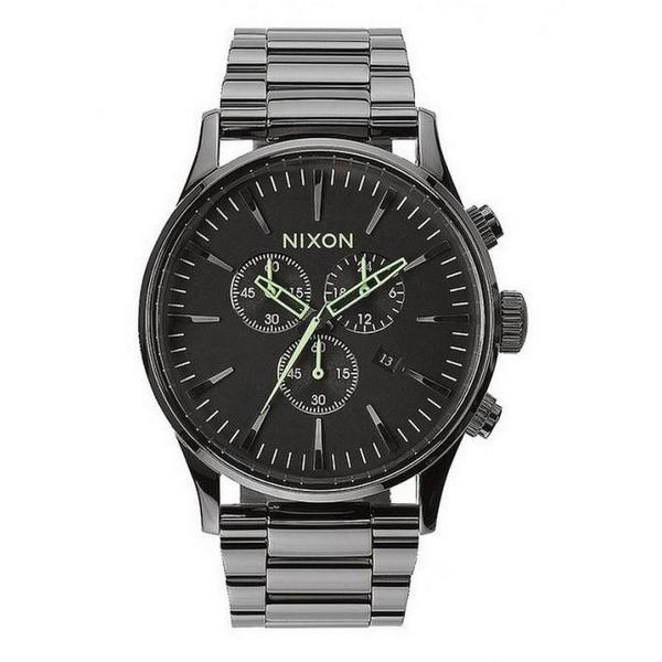 Nixon Men's A3861885-00 Sentry Quartz Stainless Steel Chrono Polished Gunmetal Watch