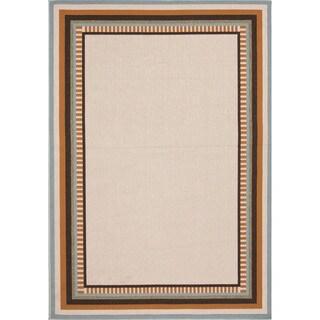 Indoor-Outdoor Border Pattern Brown/Orange (5'3 x 7'6) AreaRug