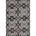 Hand-Tufted Geometric Pattern Grey/Black (5' x 7'6) AreaRug