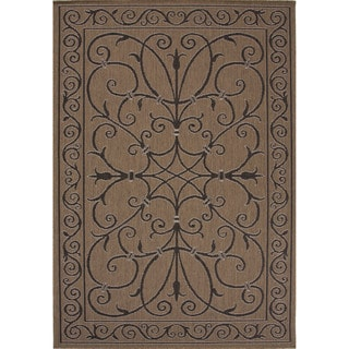 Indoor-Outdoor Oriental Pattern Brown/Black (5'3 x 7'6) AreaRug