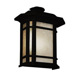 Cambridge Black Finish Outdoor Wall Lantern with Tea Stain Shade