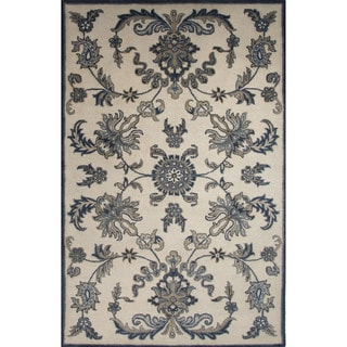 Hand-Tufted Oriental Pattern White/Blue (5' x 8') AreaRug