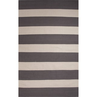 Flatweave Stripe Pattern Grey/White (5' x 8') AreaRug
