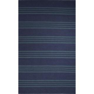 Flatweave Stripe Pattern Blue/Blue (5' x 8') AreaRug