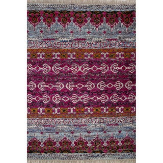 Hand-Knotted Geometric Pattern Pink/Blue (6'2 x 9'6) AreaRug