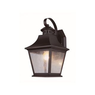 Cambridge Rubbed Oil Bronze Finish Outdoor Wall Sconce with Seeded Shade