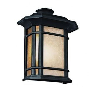 Cambridge Black Finish Outdoor Wall Sconce with Tea Stain Shade