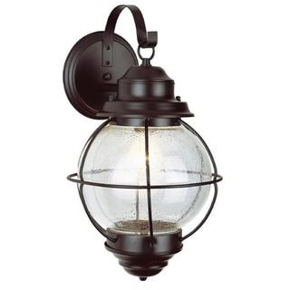 Cambridge Rustic Bronze Finish Outdoor Wall Sconce with Seeded Shade