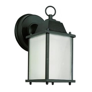 Cambridge Black Finish Outdoor Wall Sconce with Frosted Shade