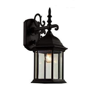 Cambridge Black Finish Outdoor Wall Sconce with Beveled Shade